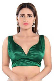 Picture of Green Colored  Trendy Readymade Designer Blouse