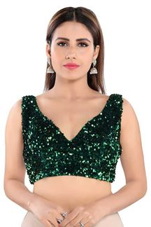 Picture of Trendy Green Colored Readymade Designer Blouse