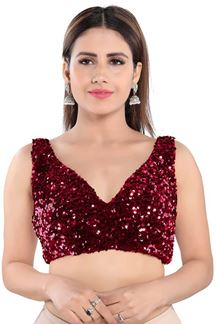 Picture of Maroon Colored Trendy Readymade Designer Blouse