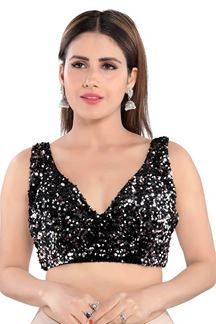Picture of Black & Silver Colored Trendy Readymade Designer Blouse