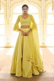 Picture of Lemon Yellow Colored Latest Designer Fancy Party Wear Lehenga Choli