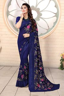 Picture of Designer Navy Blue Colored Georgette Embroidery Saree