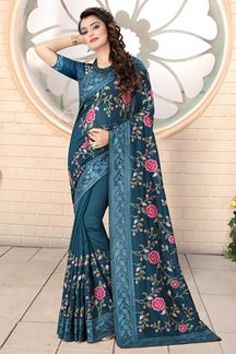 Picture of Designer Peacock  Green Colored Georgette Embroidery Saree