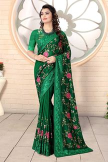 Picture of Designer Bottle Green Colored Georgette Embroidery Saree