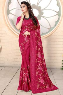 Picture of Designer Rani Pink Colored Georgette Embroidery Saree