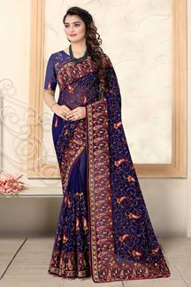 Picture of Navy Blue Colored Designer Georgette Embroidery Saree