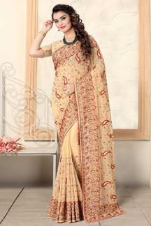 Picture of Beige Colored Designer Georgette Embroidery Saree