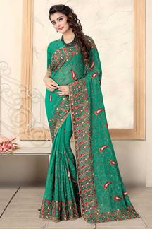 Picture of Rama Green Colored Designer Georgette Embroidery Saree
