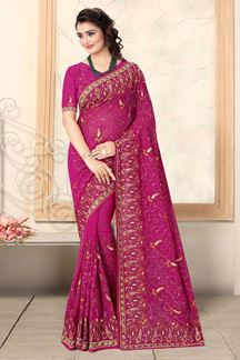 Picture of Rani Pink Colored Designer Georgette Embroidery Saree