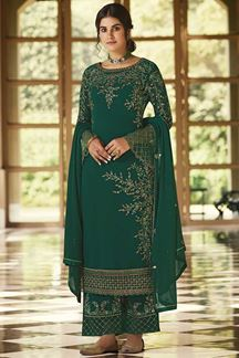 Picture of Arresting Green Colored Embroidered Georgette Palazzo Suit (Unstitched suit)