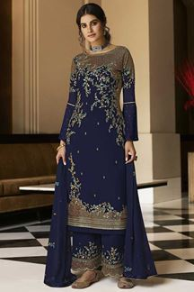 Picture of Intricate Navy Blue Colored Embroidered Georgette Palazzo Suit (Unstitched suit)