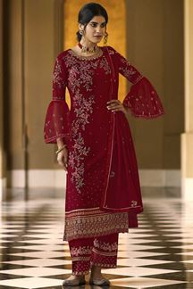 Picture of Trendy Red Colored Embroidered Georgette Palazzo Suit (Unstitched suit)