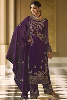 Picture of Desirable Purple Colored Embroidered Georgette Palazzo Suit (Unstitched suit)