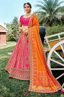 Picture of Sassy Pink & Orange colored designer lehenga choli