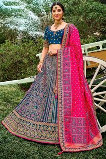 Picture of Blue & Pink Colored Designer Lehenga Set