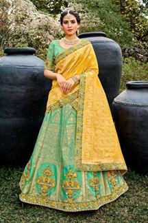 Picture of Dignified Yellow & Green Colored lehenga Choli Set