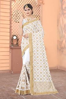Picture of White Colored Georgette Embroidery Saree