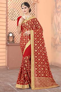 Picture of Red Colored Georgette Embroidery Saree