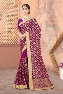 Picture of Wine Colored Georgette Embroidery Saree