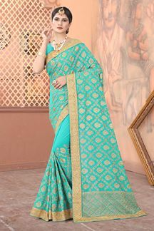Picture of Sky  Blue Colored Georgette Embroidery Saree