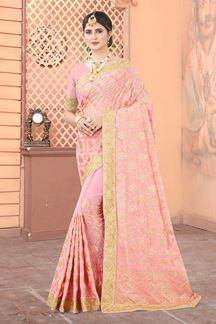Picture of Peach Colored Georgette Embroidery Saree