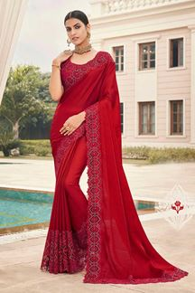 Picture of Red Colored Designer Party Wear Satin Georgette Saree
