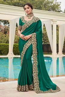 Picture of Green Colored Designer Party Wear Satin Georgette Saree