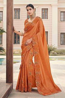 Picture of Orange Colored Designer Party Wear Satin Georgette Saree