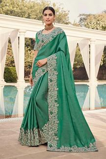 Picture of Designer Green Colored  Party Wear Satin Georgette Saree