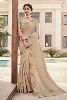 Picture of Beige Colored Designer Party Wear Satin Georgette Saree