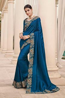 Picture of Blue Colored Designer Party Wear Satin Georgette Saree