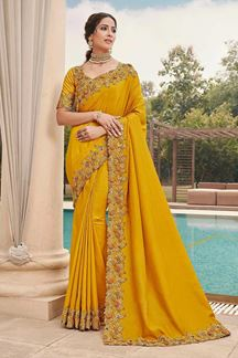 Picture of Yellow Colored Designer Party Wear Satin Georgette Saree