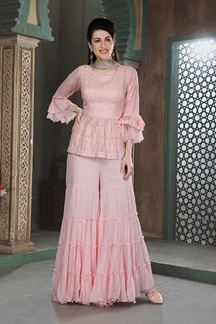 Picture of Baby Pink Colored Gharara Style Suit