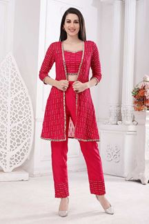 Picture of Rani Pink Colored Desiger Crop Top Suit With Jacket