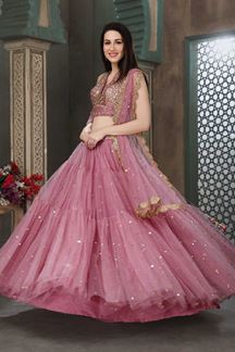 Picture of Lavender Color Partywear Net lehenga Choli