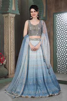 Picture of Shaded Blue Colored Designer Lucknowi Work Lehenga Choli