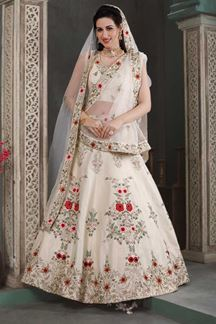 Picture of Cream Colored Designer Wedding Wear Lehenga Choli