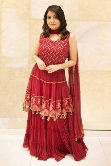 Picture of Desirable Red Colored Net Palazzo Suit