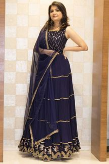 Picture of Remarkable Blue Colored Georgette Anarkali Suit