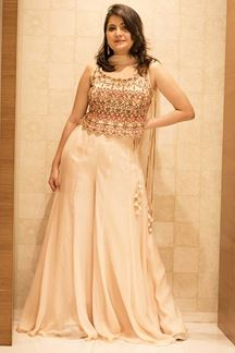 Picture of Spring Peach Colored Designer Palazzo Suit