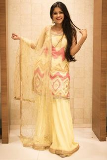 Picture of Amazing Yellow Colored Party Wear Palazzo Suit