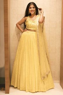 Picture of Blissful Yellow Colored Party Wear Georgette Lehenga Choli