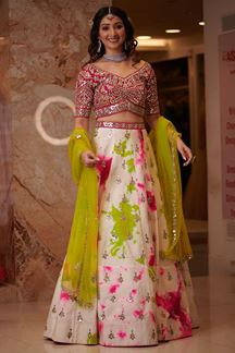 Picture of Graceful Off-white& Pink Colored Wedding Wear Silk Lehenga Choli