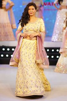 Picture of Dazzling Yellow Colored Embroidered lehenga Choli