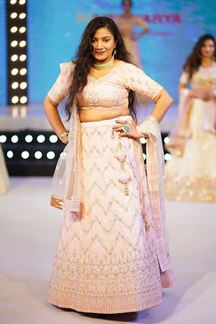 Picture of Appealing Light Pink Colored Party Wear Embroidered Lehenga Choli