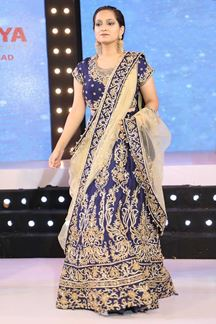 Picture of Dazzling Navy Blue Colored Designer Embroidered Bridal Lehenga Choli