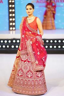 Picture of Magnetic Red Colored Wedding Wear Embroidered Lehenga Choli