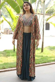 Picture of Blissful Multi-Colored Crop Top Palazzo