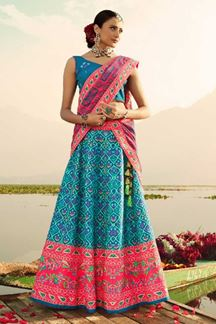 Picture of Blue & Pink Colored Designer Silk Lehenga Choli