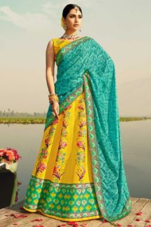 Picture of Yellow & Blue Colored Designer Silk Lehenga Choli